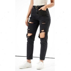 American Eagle Ripped Mom Jeans Distressed Black 2